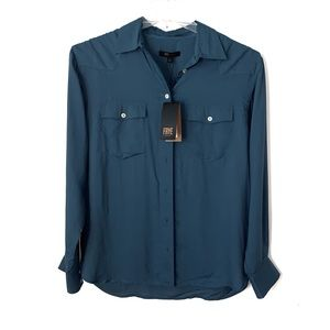 Frye Addie top New with tag medium button up blue